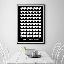 black wedding guest book personalised heart wedding guest book poster print by i