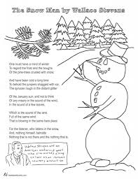 coloring page poems the snow man by wallace stevens