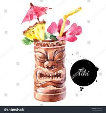 watercolor cocktail hand drawn sketch watercolor cocktail tiki stock illustration