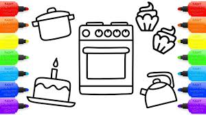 Toy Kitchen Set For Boys Baby Kitchen Toys Coloring Book Cupcakes And Children U0027s Tableware