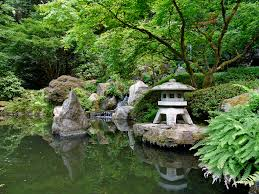 painting of small japanese garden for green and refreshing