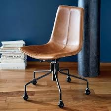 leather desk chair no arms slope leather swivel office chair west elm leather desk chair
