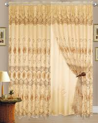 Black And Gold Damask Curtains by Embroidered Sheer Curtains Ebay