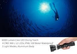 le torche 6000 lumen cree led plongée sous marine 4 cree xm l
