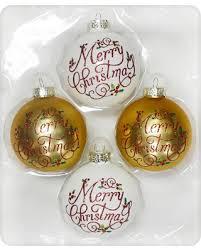 Glass Christmas Ornament Sets - tis the season for savings on 4ct merry christmas design glass