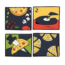 affiches cuisine icônes de pizza affiches ensemble d images illustration de vecteur
