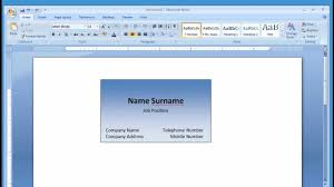 Dimensions For Business Cards Microsoft Word Making And Printing Business Card 1 2 Youtube