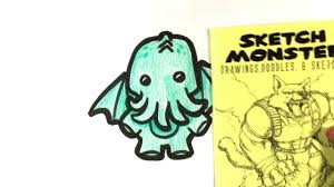 how to draw cthulu cute version halloween drawings youtube