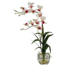 Silk Flowers Arrangements - dendrobium with glass vase silk flower arrangement white