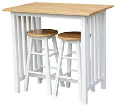 Breakfast Bar Table And Stools 3pcs Breakfast Set Made With Solid Wood White Transitional
