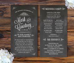 Chalkboard Wedding Program Chalkboard Vintage Roses Wedding Program Wedding Pinterest