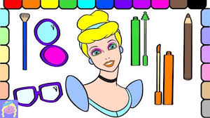 put make up on cinderella with this cinderella coloring book page