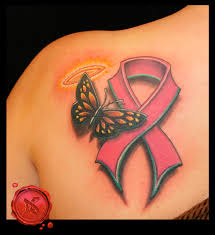 butterfly and cancer ribbon tattoos butterfly with thyroid cancer