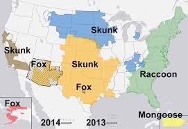 map us and cdc distribution of major rabies virus variants among
