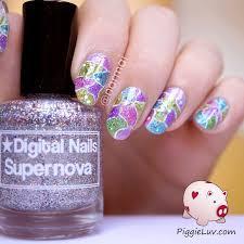 piggieluv cracked glitter nail art
