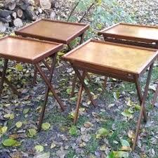 Folding Tray Table Set Tv Tray Table Vintage Mid Century Burl Wood Folding Tray Table Set