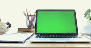 Laptop On Desk Laptop On Desk With Green Screen Stock Footage 31591246