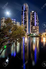 Modern City by Australian Modern City At Night Gold Coast Queensland Stock