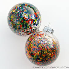 melted crayon ornaments happy brown house