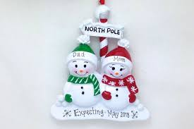 expecting couple personalized christmas ornament north pole