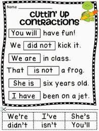 free worksheets language arts activities contractions
