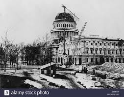 The Replacement Construction Of The Replacement Dome Of The Us Capitol 1864 In