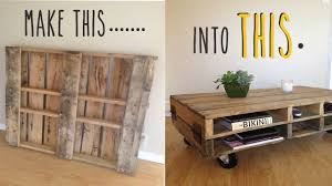 Plans For Building A Wooden Coffee Table by Diy How To Make A Coffee Table Out Of An Old Pallet Youtube