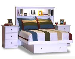 Full Size Bed Frame With Bookcase Headboard Bedroom Surprising Bed With Storage Drawer U0026 Bookcase Headboard