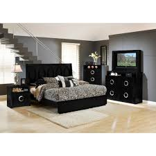 Mirrored Furniture Bedroom Set Hollywood Bedroom Bed Tv Dresser U0026 Tv Mirror Black King