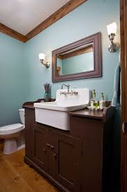 converted hutch sink vanity bathroom farmhouse with widespread