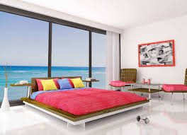 bedroom decor platform bed white mattress pillow red blanket