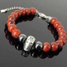 red stone bracelet images Iron man fighter charm bracelet oxide healing red jasper jpg