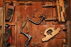 Woodworking Tools by Very Old And Worn Woodworking Tools In Worn Down Cabinet Stock