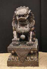 lion dog statue pair of large bronze foo dogs keiloon fu temple