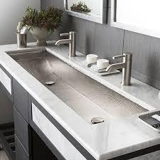 Bathroom Sink Modern Bathroom Sinks Lyndon 47 Inch Wall Hung Two Faucet Trough