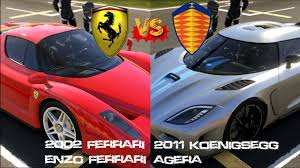 koenigsegg ferrari forza 5 enzo ferrari vs koenigsegg agera on catalunya gameplay
