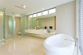 gorgeous bathroom decoration using glass tile shower wall engaging