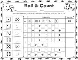 and count place value worksheets activity with dice number cube