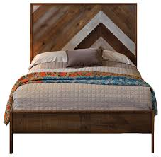 reclaimed chevron bed rustic panel beds by urban evolutions