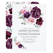 wedding invitations burgundy plum burgundy and blush floral watercolor wedding card zazzle