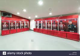 in the changing room of fc atletico madrid stock photo royalty