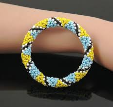 bracelet crochet beads images Yellow nepal handmade bead bracelet hippy friendship roll crochet jpg