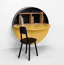 pill wall mounted desk round workspace by emko architecture and