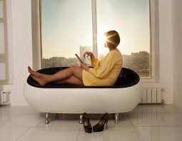 High Heel Bathtub Side View Of Businesswoman Sitting On Sofa Without High Heels