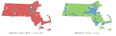 Massachusetts State Map by Massachusetts Primary Election Results 2016 The New York Times