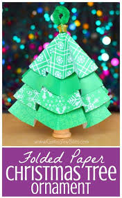 folded paper christmas tree ornaments kids origami kindergarten