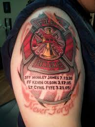 firefighter beautiful back tattoos maltese cross design idea