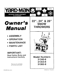 yard man snow blower 31353 8 user guide manualsonline com