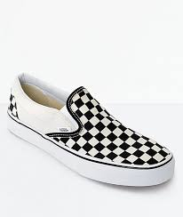 vans slip on black white checkered skate shoes zumiez