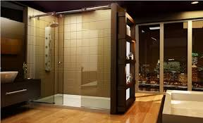 Luxury Shower Doors Brown Accent Wall Tiles With Clear Glass Sliding Shower Doors For
